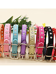 cheap -Cat Dog Collar Adjustable / Retractable Studded Character Rhinestone PU Leather Red Blue Pink