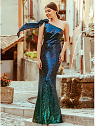 cheap -Mermaid / Trumpet Elegant Sparkle & Shine Prom Dress One Shoulder Sleeveless Floor Length Sequined with Sequin 2020