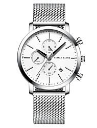 cheap -HANNAH MARTIN Men's Steel Band Watches Quartz Classic Style Stylish Stainless Steel Black / Silver 30 m Water Resistant / Waterproof Casual Watch Analog - Digital Fashion Minimalist - Black Black