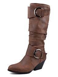 cheap -Women's Boots Chunky Heel Round Toe Buckle PU Mid-Calf Boots Vintage Fall & Winter Black / Brown / Yellow