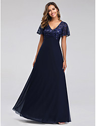 cheap -A-Line Empire Blue Party Wear Prom Dress V Neck Short Sleeve Floor Length Tulle Sequined with Sequin Appliques 2020