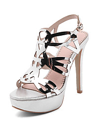 cheap -Women's Sandals Stiletto Heel Open Toe Buckle PU / Synthetics Summer Black / Gold / Silver / Wedding / Party & Evening