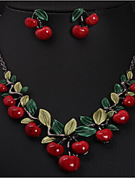 cheap -Women's Resin Necklace Geometrical Cherry Stylish Earrings Jewelry Gold For Party 1 set