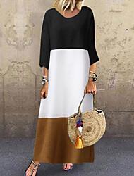cheap -Women's Basic Shift Dress - Color Block Black Red Gray M L XL XXL