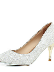 cheap -Women's Heels Stiletto Heel Pointed Toe Sequin Faux Leather Casual / Minimalism Spring & Summer Gold / Silver