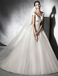 cheap -A-Line V Neck Sweep / Brush Train Satin / Tulle Cap Sleeve Simple Elegant Wedding Dresses with Ruched 2020