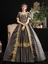 cheap -Maria Antonietta Rococo Baroque Victorian Dress Party Costume Masquerade Women's Lace Satin Costume Gray Vintage Cosplay Party Halloween Party & Evening Floor Length Ball Gown Plus Size