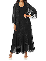 cheap -Two Piece V Neck Ankle Length Chiffon Long Sleeve Wrap Included Mother of the Bride Dress with Appliques / Ruching 2020