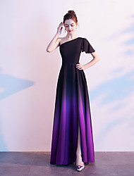 cheap -A-Line One Shoulder Floor Length Chiffon Color Block Prom Dress 2020 with Draping