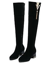 cheap -Women's Boots Chunky Heel Round Toe PU Fall & Winter Black