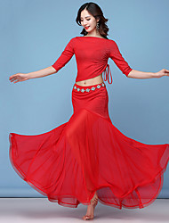 cheap -Belly Dance Outfits Women's Training / Performance Mesh / Polyester / Cotton Blend Bow(s) / Glitter / Ruching 3/4 Length Sleeve Natural Skirts / Top