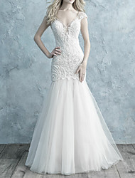 cheap -Mermaid / Trumpet V Neck Sweep / Brush Train Lace / Tulle Cap Sleeve Made-To-Measure Wedding Dresses with Beading / Buttons 2020