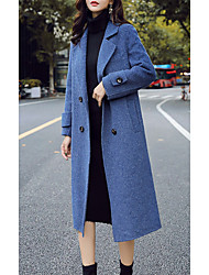 cheap -Women's Daily Basic Fall & Winter Long Coat, Solid Colored Straight Collar Long Sleeve Polyester / Wool Blend Black / Blue / Beige / Loose