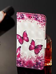 Недорогие -чехол для яблока iphone 11 / iphone 11 pro / iphone 11 pro max кошелек / держатель для карты / с подставкой для всего корпуса розово-красная бабочка искусственная кожа для iphone x / xs / xr / xs max