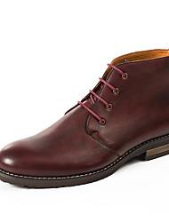 Недорогие -Муж. Армейские ботинки Кожа Наступила зима Ботинки Дышащий Ботинки Черный / Винный / Кофейный