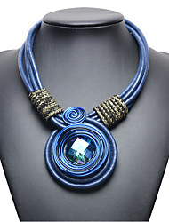 cheap -Women's Synthetic Aquamarine Pendant Necklace Geometrical Flower Ethnic Chrome Purple Burgundy Blue Coffee 48+8 cm Necklace Jewelry 1pc For Daily Holiday