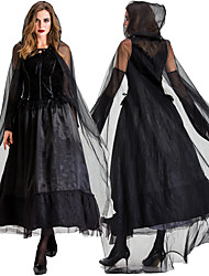 cheap -Vampire Dress Cosplay Costume Cloak Masquerade Adults' Women's Cosplay Halloween Halloween Festival / Holiday Tulle Cotton Black Women's Carnival Costumes
