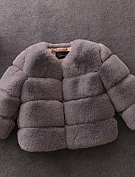 cheap -Kids Girls' Basic Solid Colored Faux Fur Jacket & Coat Wine