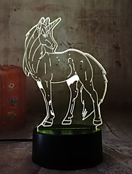 cheap -3D RGB LED Night Light Unicorn Horse Multicolor 7 Colors Change USB Desk Lamp for Christmas Gift for Children Home Decroration