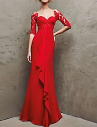 cheap -Sheath / Column Sweetheart Neckline Floor Length Chiffon / Lace Elegant Formal Evening Dress with Ruffles / Lace Insert 2020