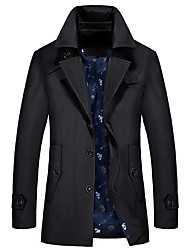 cheap -Men's Daily Fall & Winter Regular Jacket, Solid Colored Turndown Long Sleeve Polyester Black / Blue / Royal Blue