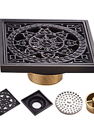 cheap -Brass Floor Drain Bathroom Shower Sink,Square Black Toilet Floor Mounted Drain