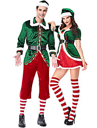 cheap -Cosplay Santa Claus Christmas Dress Adults' Men's Christmas Festival / Holiday Knitting Dark Green Men's Carnival Costumes / Top / Pants / Gloves / Belt / Socks