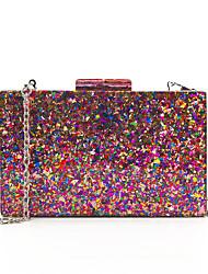 cheap -Women's Sequin / Chain Acrylic / Polyester Evening Bag Color Block Fuchsia