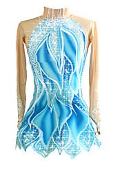 abordables -Robe de Patinage Artistique Femme Fille Patinage Robes Bleu / blanc Elastique Compétition Tenue de Patinage Fait à la main Classique Manches Longues Patinage sur glace Patinage Artistique