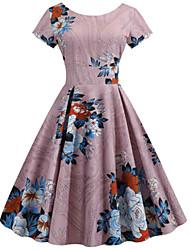 cheap -Women's Elegant Sheath Dress - Floral Dusty Rose S M L XL