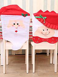 abordables -2pcs thème de noël chaise siège arrière couverture prop accessoire pour décoration de la maison / décorations de vacances du nouvel an