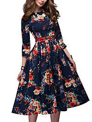 cheap -Women's Navy Blue Dress Basic A Line Geometric S M / Belt Not Included