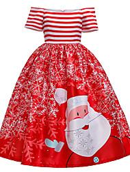 cheap -Kids Girls' Active Sweet Striped Snowflake Christmas Print Short Sleeve Midi Dress Blue