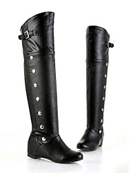 cheap -Women's Boots Over-The-Knee Boots Flat Heel Round Toe PU Over The Knee Boots Fall & Winter Black / Brown / White