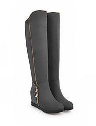 cheap -Women's Boots Knee High Boots Flat Heel Round Toe Suede Knee High Boots Fall & Winter Black / Green / Gray