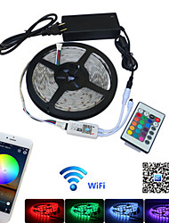 cheap -5m Remote Controls LED Strip Lights Flexible Tiktok Lights 150 LEDs 5050 SMD 1 24Keys Remote Controller 1 x 12V 2A Adapter 1 set Multi Color Waterproof APP Control Party 85-265 V