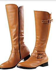 cheap -Women's Boots Knee High Boots Flat Heel Round Toe PU Knee High Boots Fall & Winter Brown