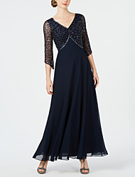 cheap -A-Line Mother of the Bride Dress Sparkle & Shine V Neck Ankle Length Chiffon Tulle 3/4 Length Sleeve with Beading 2020 / Bell Sleeve Mother of the groom dresses