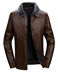 cheap -Men's Daily / Work Winter Regular Leather Jacket, Solid Colored Stand Long Sleeve PU Black / Brown