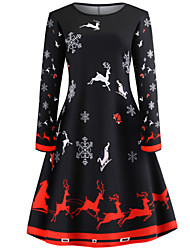 cheap -Women's Christmas Vintage A Line Dress - Animal Deer, Print Black S M L XL