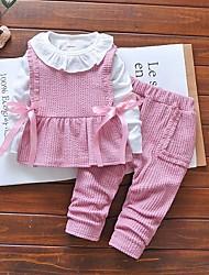 cheap -Baby Girls' Street chic Color Block Long Sleeve Regular Clothing Set Blushing Pink
