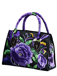 cheap -Women's Flower Polyester Top Handle Bag Leather Bags Embroidery Wine / Black / Blue / Fall & Winter