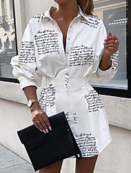 cheap -Women's Asymmetrical A Line Dress - Long Sleeve Letter Shirt Collar Elegant White S M L XL