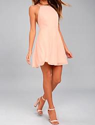 cheap -A-Line Halter Neck Knee Length Chiffon Bridesmaid Dress with Pleats