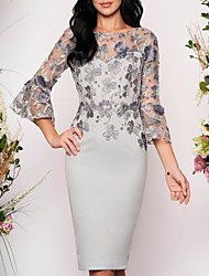 cheap -Women's Bodycon Knee Length Dress Gray 3/4 Length Sleeve Floral Solid Color Lace Round Neck Elegant M L XL XXL 3XL