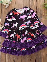 cheap -Toddler Girls' Active Geometric Print Long Sleeve Knee-length Dress Purple