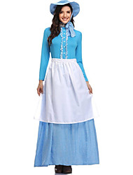 cheap -Country Girl Dress Cosplay Costume Hat Outfits Party Costume Adults' Women's Rustic Cosplay Halloween Festival / Holiday Polyster Blue Women's Carnival Costumes / Apron