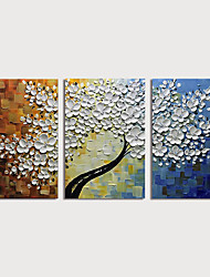 abordables -Peinture à l'huile Hang-peint Peint à la main - A fleurs / Botanique Moderne Inclure cadre intérieur / Trois Panneaux