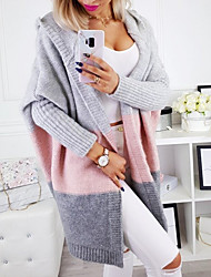 cheap -Women's Color Block Long Sleeve Cardigan Sweater Jumper, Hooded White / Blushing Pink / Yellow S / M / L