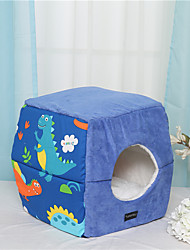 cheap -Dog Cat Pets Bed Cuddle Cave Bed Pet House Warm Washable Folding Pet Mats & Pads Fabric Cotton Creative Blue Pink Coffee